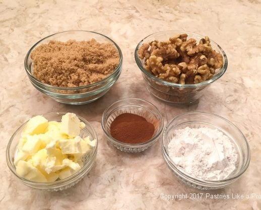 Ingredients for the Walnut Streusel Blueberry Cobbler